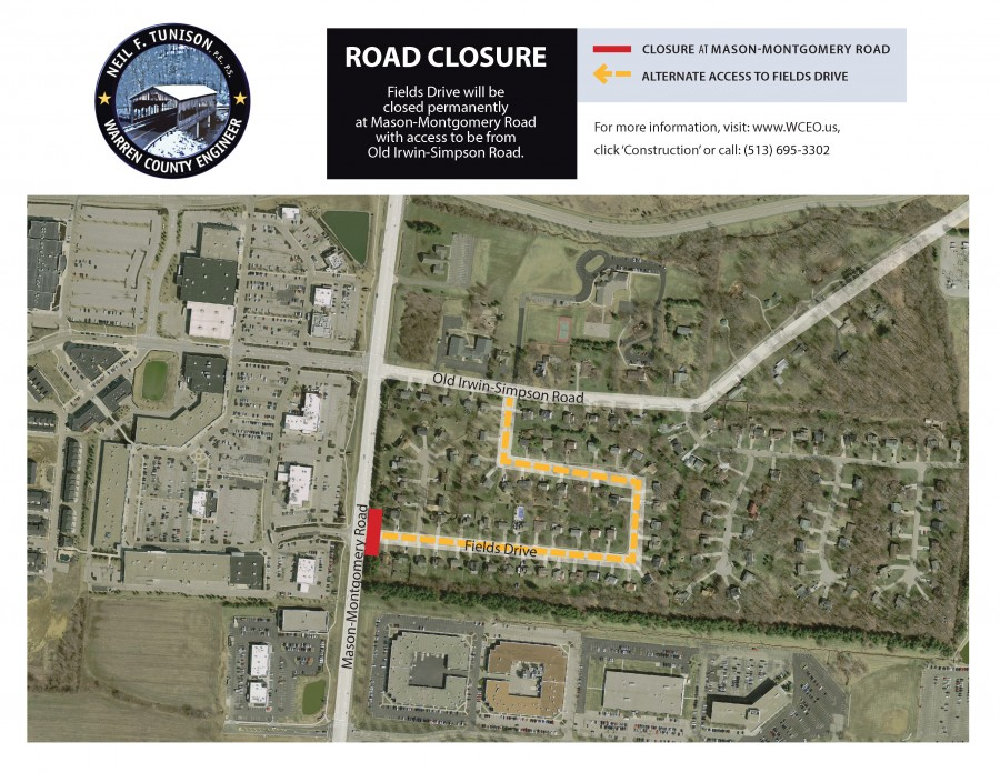 Fields Drive at Mason-Montgomery Road to be closed Permanently in Deerfield Township
